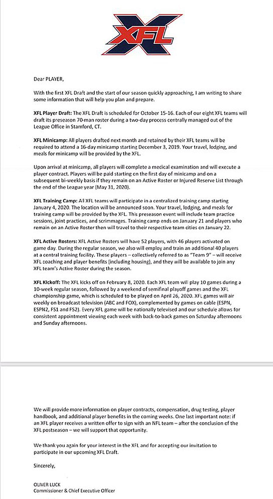 XFL Draft Information