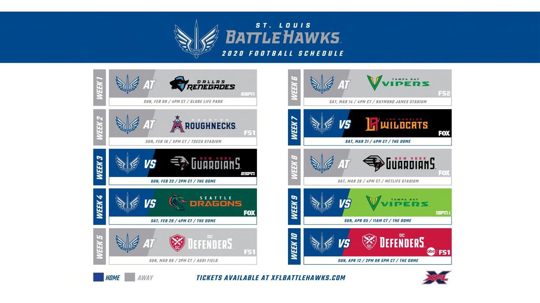 St. Louis BattleHawks Schedule