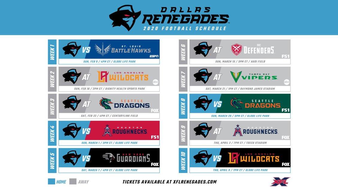 Dallas Renegades Schedule