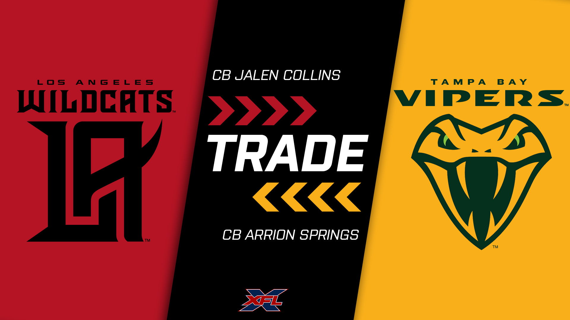 CB Jalen Collins to @XFLVipers; CB Arrion Springs to @XFLWildcats