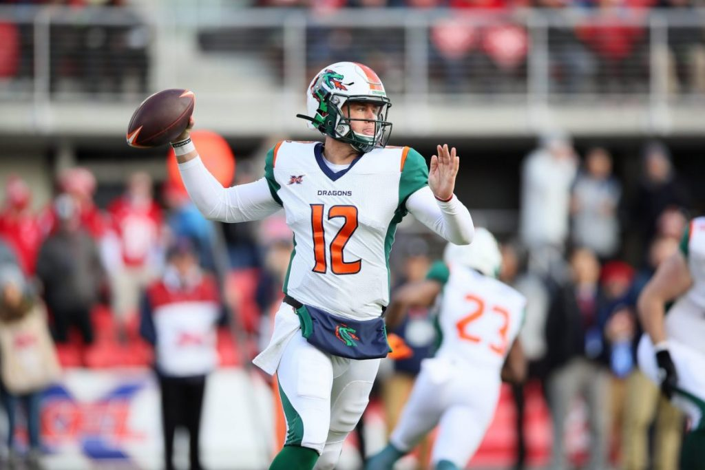 XFL Seattle Dragons quarterback Brandon Silvers