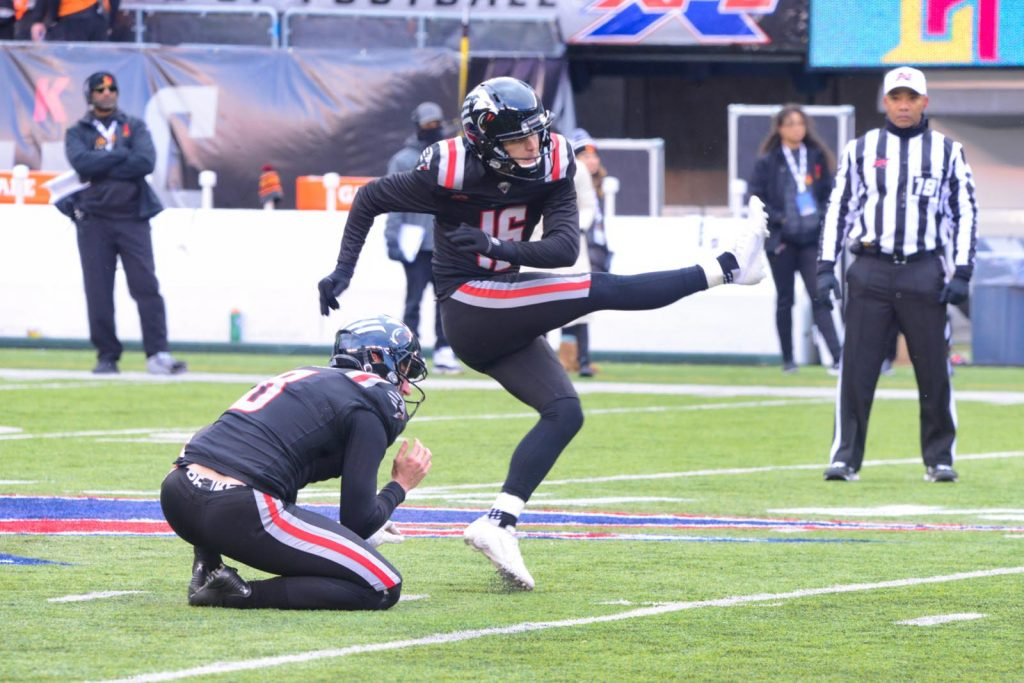 XFL Guardians kicker Matt McCrane follows through on a field goal attempt.