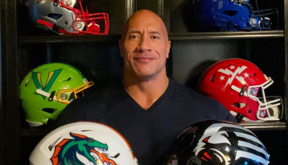 "XFL helmets adorn Dwayne ""The Rock"" Johnson's office - XFL News @  XFLBoard.com"
