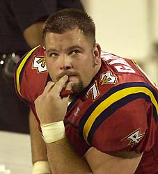 Orlando Rage offensive tackle Jason Gamble watches the time run out on the team with seconds to go in a playoff defeat to the San Francisco Demons in Orlando. (AP)