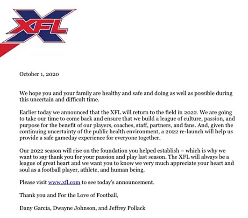 XFL letter to players
