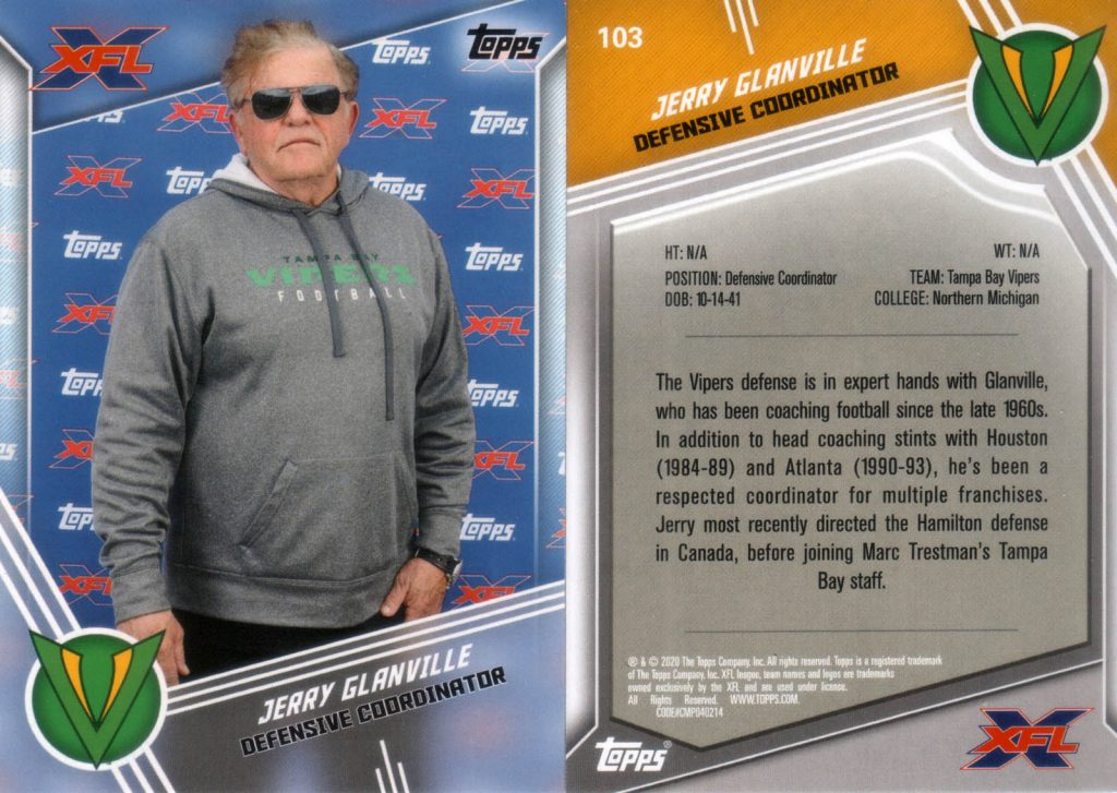 Jerry Glanville - 2020 Topps 103- Front and back.