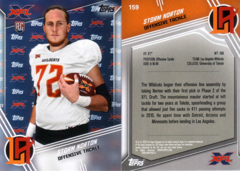 Storm Norton - 2020 Topps 159 - Front and back.