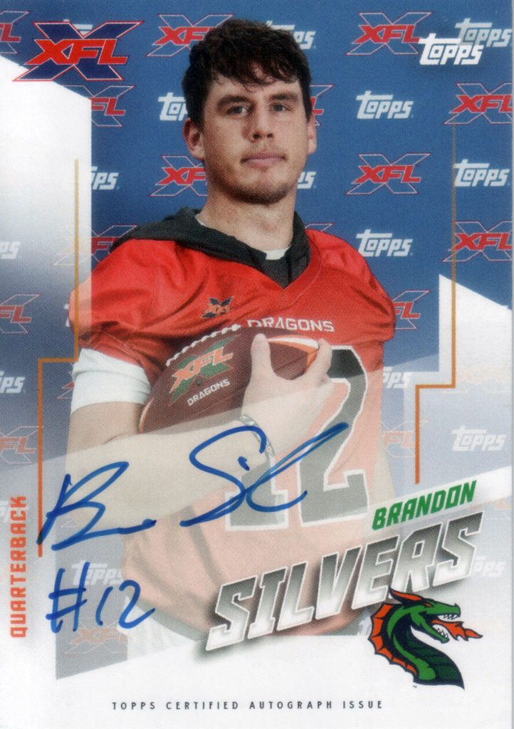 AU-BS Brandon Silvers Autograph Card, XFL TOPPS 2020
