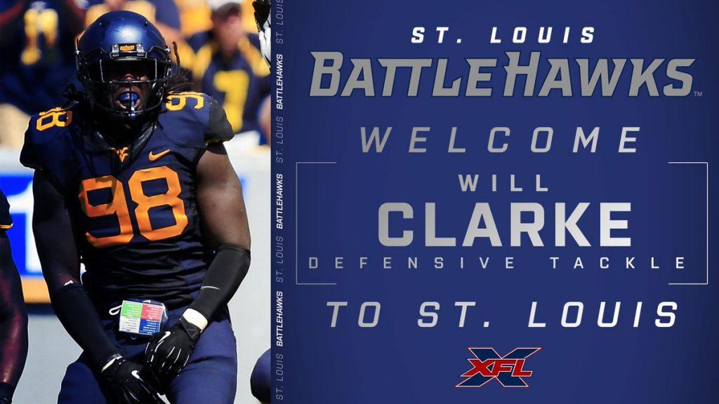 St. Louis BattleHawks welcome Will Clarke.